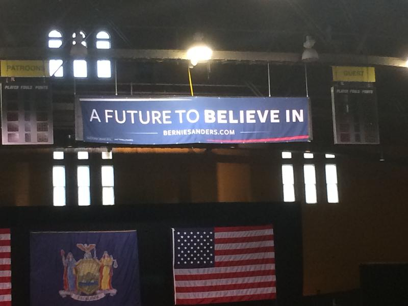 Campaign banner for Bernie Sanders