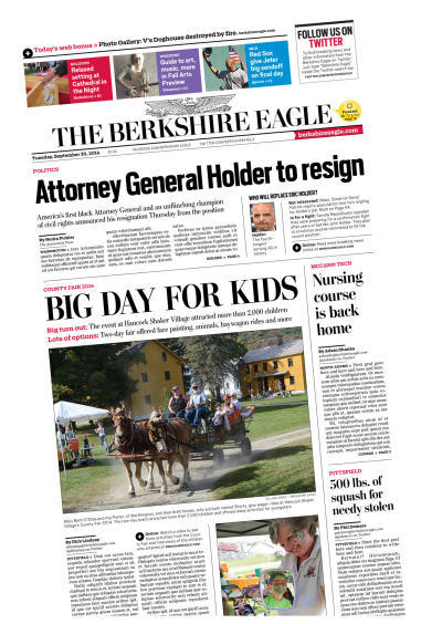 This is a picture of the front page of The Berkshire Eagle