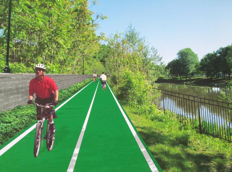 Image depicts what a bike path along I-787 might look like.