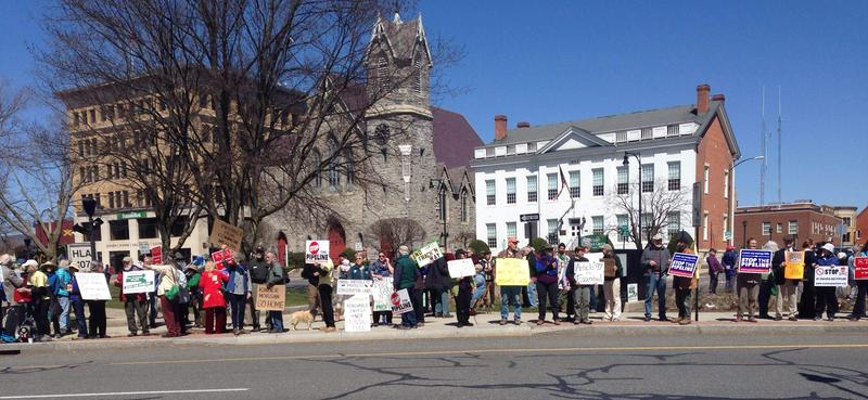 Pipeline opponents rallied outside Berkshire Superior Court in Pittsfield, Massachusetts for a hearing on the land access in April 2016.