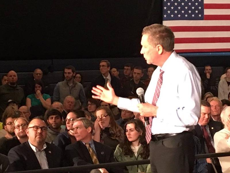 Gov. John Kasich speaks in Troy Monday.