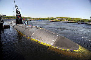 USS Hartford submarine in the water
