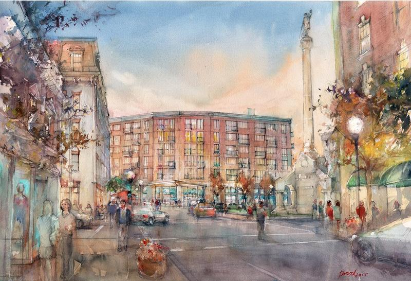 "In 2009, the City of Troy engaged a consultant to assist with the redevelopment of the former site of City Hall and the adjoining parking structure. It was hoped that the 1.5-acre site on River Street would transform downtown, becoming the city's ""crown j"