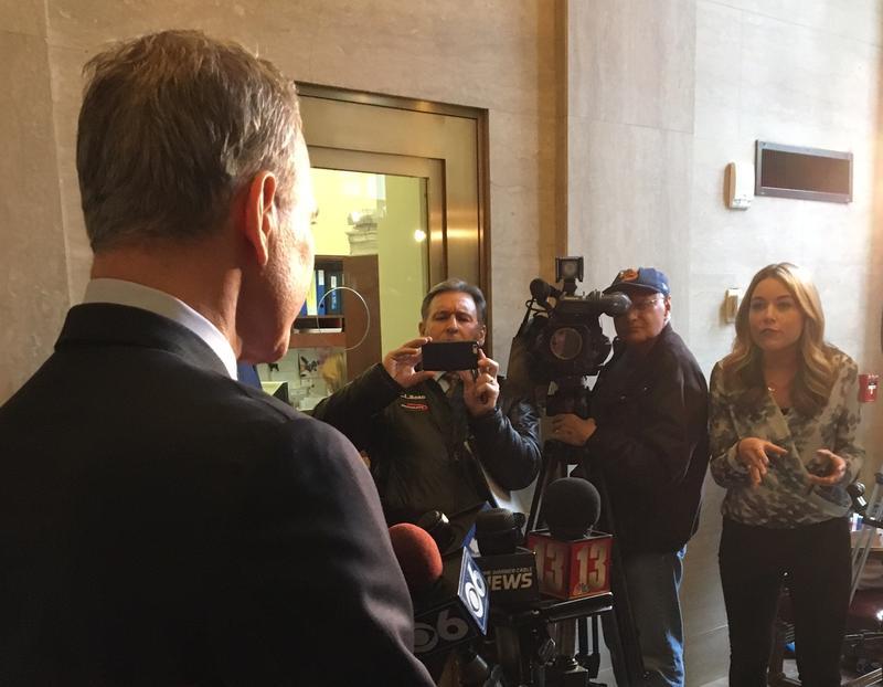 NY AG Eric Schneiderman meets the press in Albany during the New York State Court of Appeals Law Day.