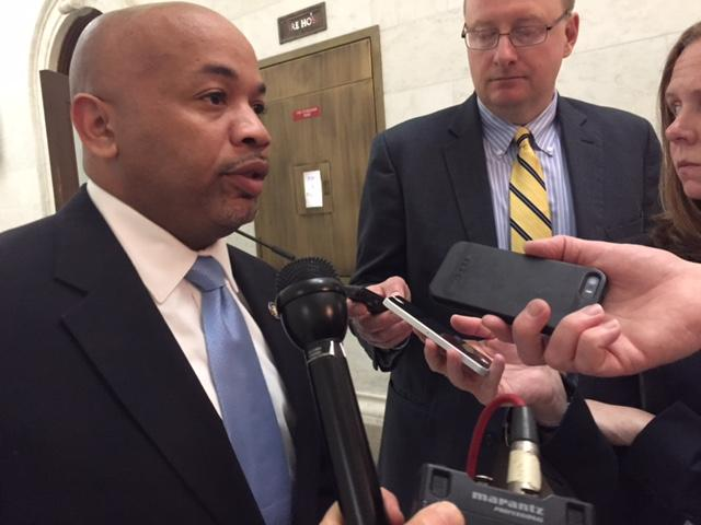 NYS Assembly Speaker Carl Heastie speaks to reporters on Sheldon Silver's sentencing.