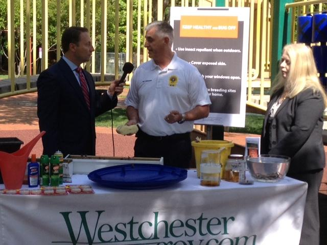 Westchester County Executive Rob Astorino (left), Assistant  Environmental Health Peter DeLucia (middle) and Health Commissioner Dr. Sherlita Amler (right)