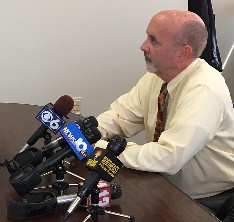 Troy Mayor Patrick Madden meets the press May 12, 2016 at Troy City Hall.