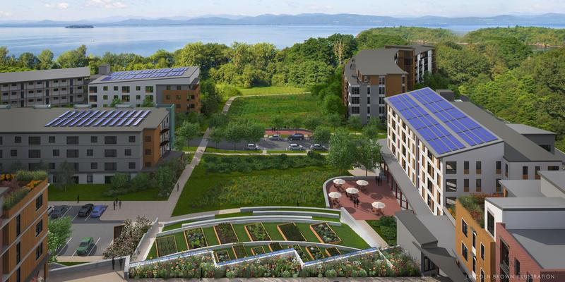 Rendering of proposed development on former Burlington College property