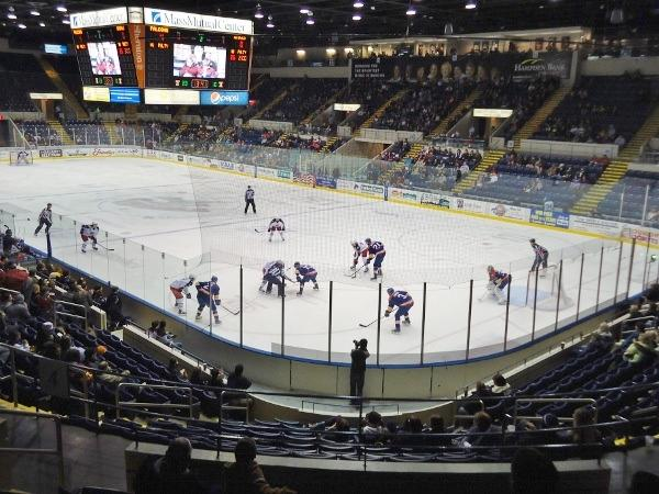 a corner face off in the MassMutual Center