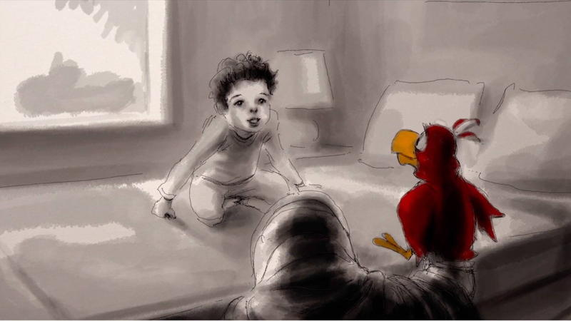 Illustration - Owen Suskind talking to a puppet of Iago from Aladdin