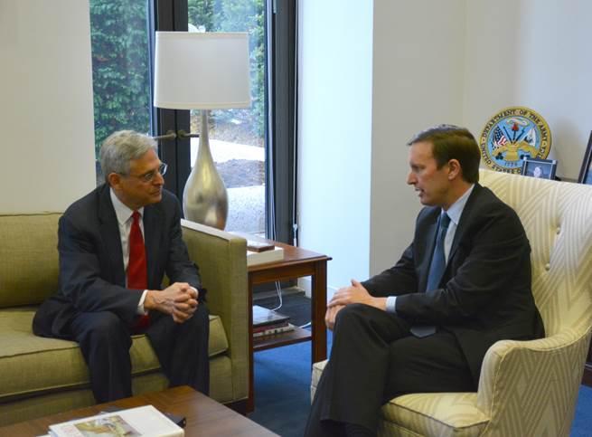 Judge Merrick Garland meets with Connecticut U.S. Senator Chris Murphy in the Democrat's Washington, D.C. office.