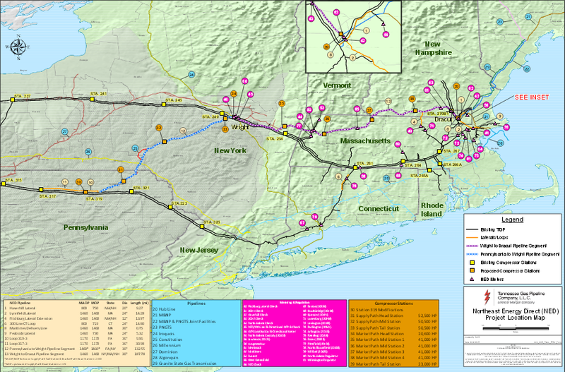 The path of the proposed Northeast Energy Direct pipeline