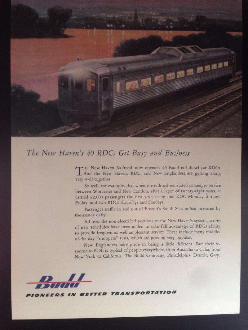 Advertisements for the Budd cars, that would be found in magazines, are part of the historical aspect of the experience.