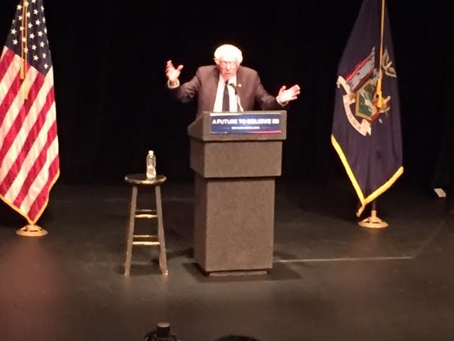 Bernie Sanders speaks at the Egg in Albany