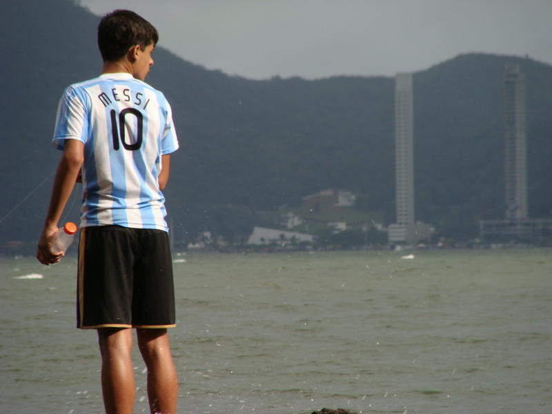Fan wearing Lionel Messi Argentina's Jersey