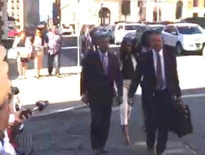 Foreground: Asha Burwell & attorney Frederick Brewington. Background: Ariel Agudio & attorney Mark Mishler.