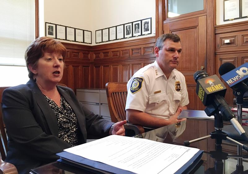 Albany Mayor Kathy Sheehan and Police Chief Brendan Cox speak with reporters at City Hall, June 2, 2016.