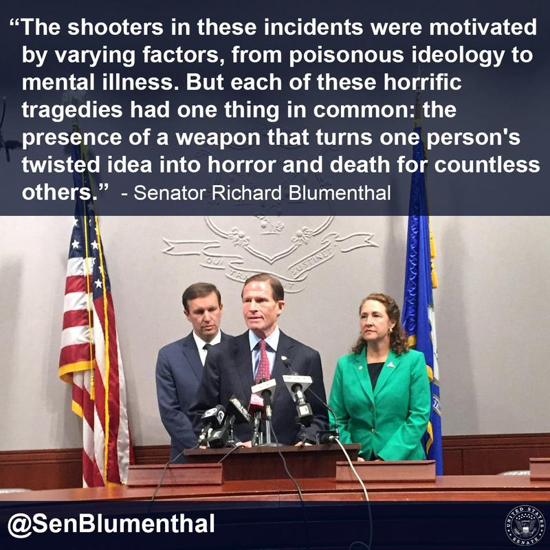 From left to right: U.S. Senators Chris Murphy and Richard Blumenthal, along with Rep. Elizabeth Esty address the shooting in Orlando.