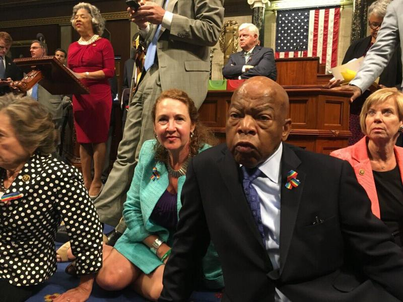 House Democrats at a sit-in Wednesday.