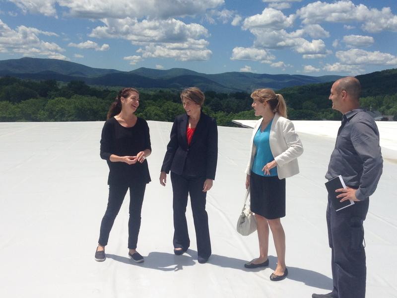 Massachusetts Attorney General Maura Healey, second from the left, tours the Greylock Mill redevelopment project in North Adams.