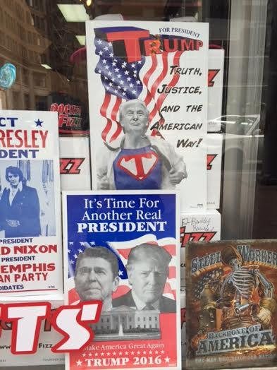 Pictures of Donald Trump in a store window in Cleveland.