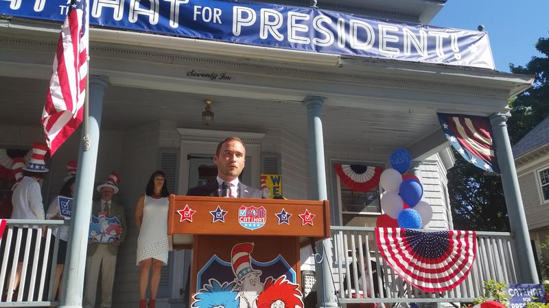 Springfield City Council President Mike Fenton spoke at the Cat in the Hat's event