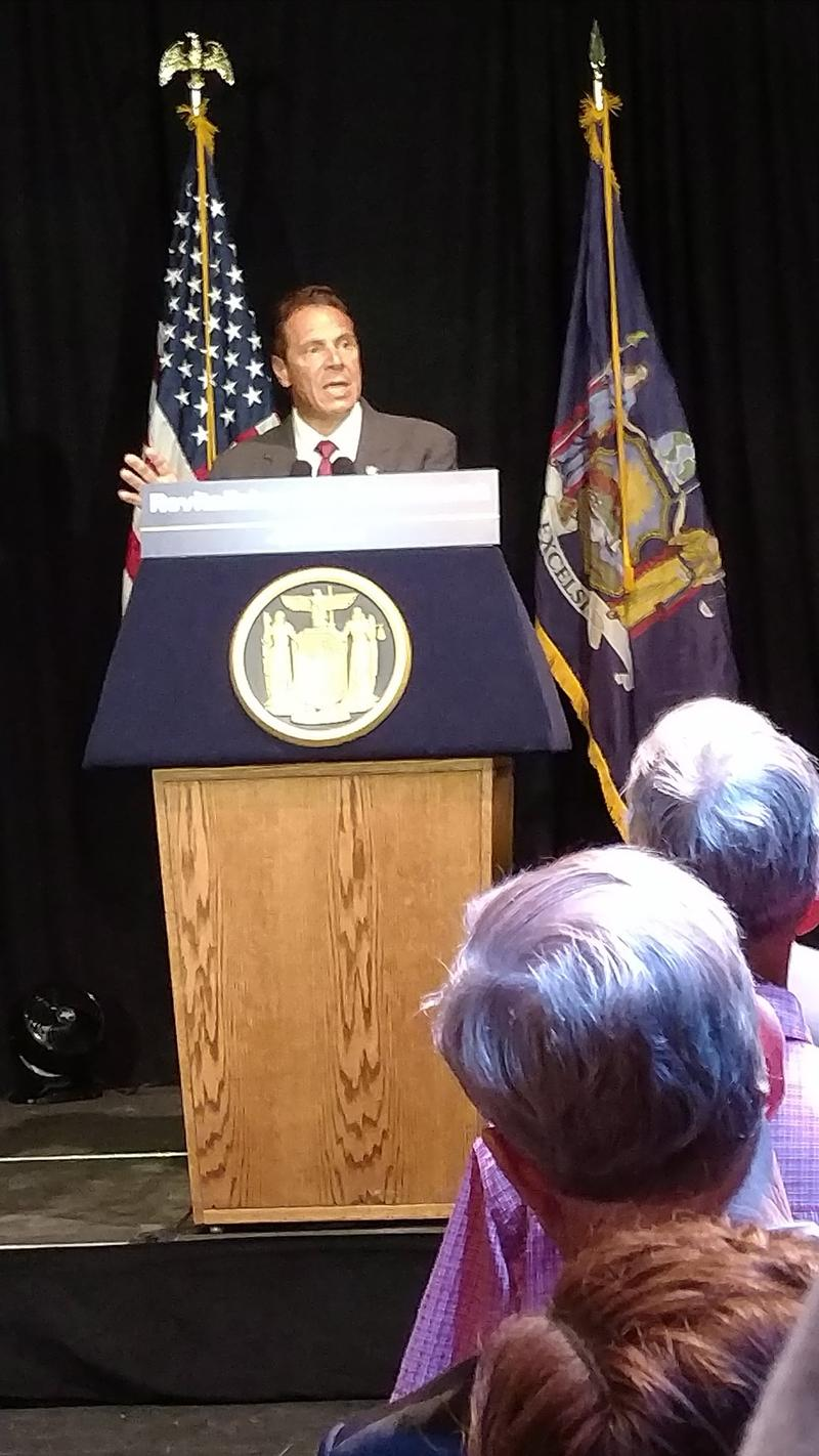 Gov. Cuomo in Plattsburgh Wednesday.