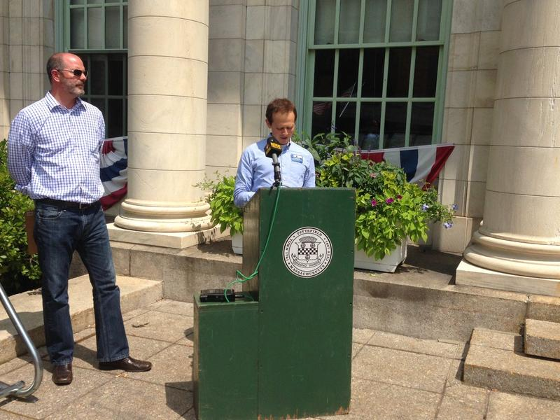 Environment Massachusetts State Director Ben Hellerstein joins Pittsfield's Open Space and Natural Resource Manager Jim McGrath Wednesday at Pittsfield City Hall.