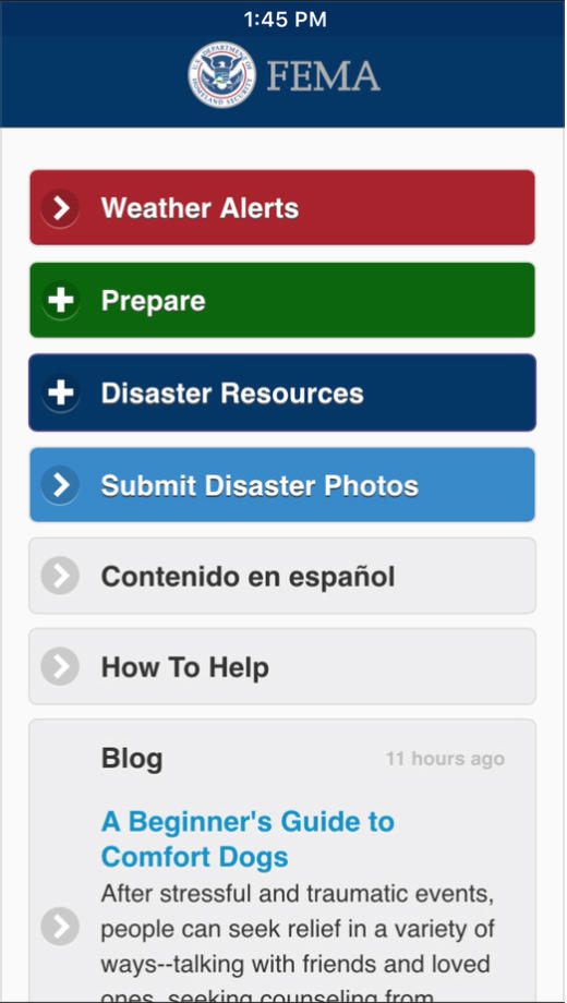 FEMA app Main Menu