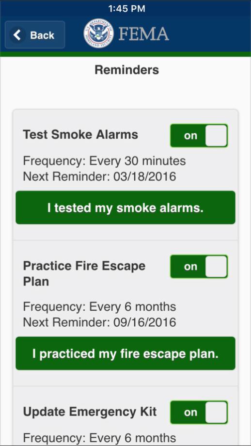 FEMA app Reminders