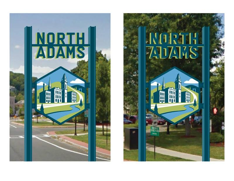 This is a rendering of wayfaring signs North Adams unveiled in October 2015.