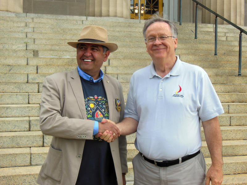 Rotary District Governor Nabil Oudeh (left) with Plattsburgh Mayor James Calnon