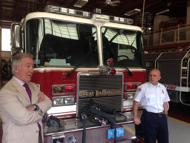 Congressman Richard Neal meets with Great Barrington Fire Chief Charles Burger Monday.