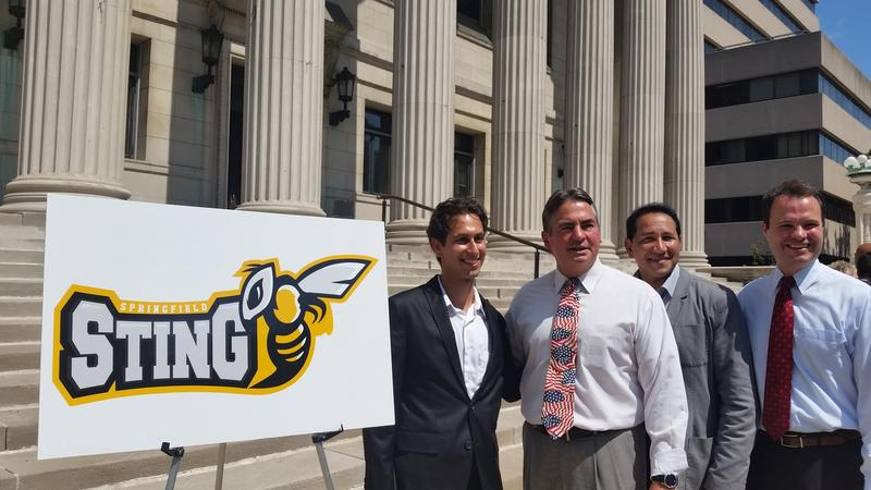 The Springfield Sting logo in front of City Hall
