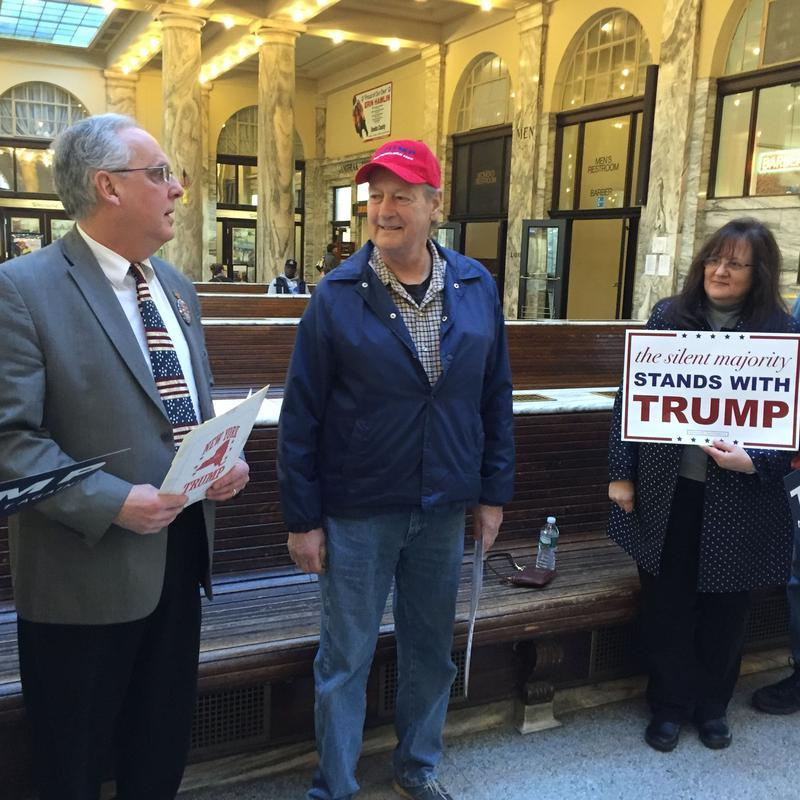 Mohawk Valley/Central New Yorkers for Trump leader Jim Zecca, left, and volunteers organize before a press conference in Utica's historic train station in March.