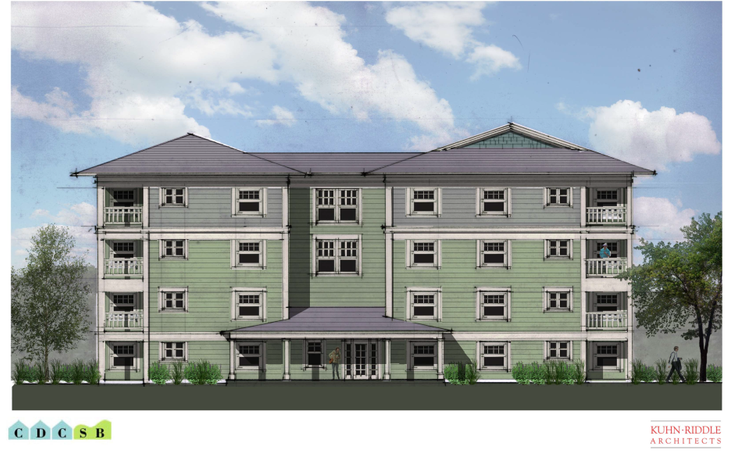 A rendering of the affordable housing project at 100 Bridge St. Great Barrington, Massachusetts.