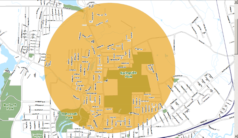 A map of the the one-mile radius around Garland Avenue designated for truck-mounting spraying on Tuesday, August 23 at 10 p.m.