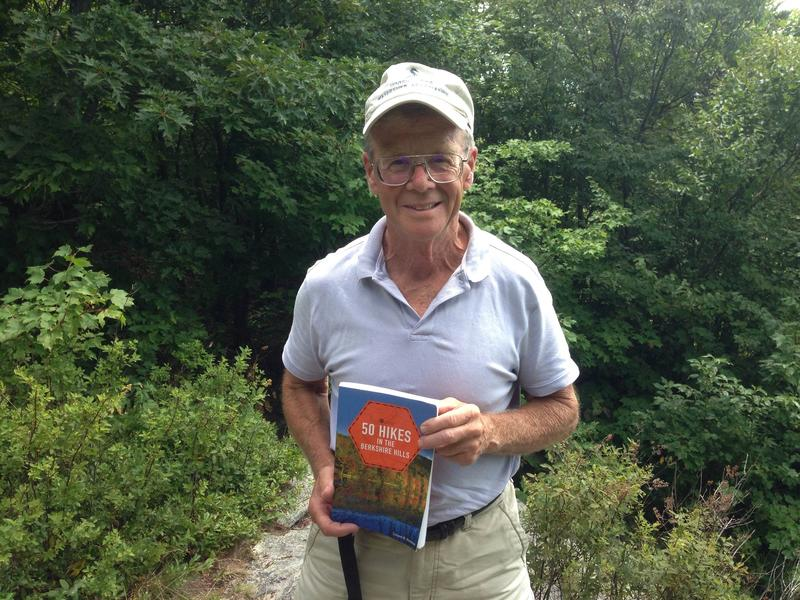 "Lauren Stevens holding his book ""50 Hikes in the Berkshire Hills"""