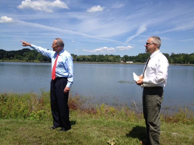 U.S. Senator Charles Schumer (left) and Newburgh City Manager Michael Ciaravino at Washington Lake