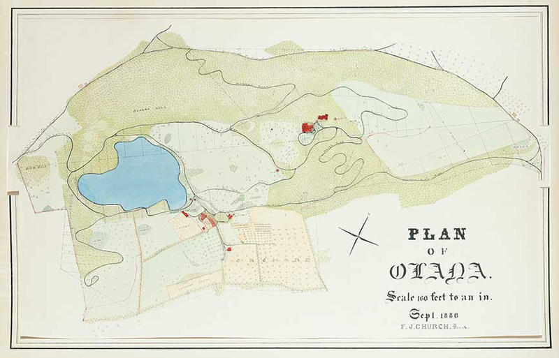 Frederic Joseph Church, Plan of Olana, September 1886, watercolor on paper, OL. 1984.39. Collection Olana State Historic Site, New York State Office of Parks, Recreation and Historic Preservation