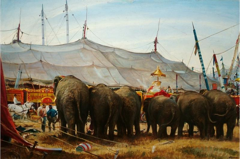 Ogden Pleissner (1905-1983) Circus Comes to Rawlins, Wyoming, 1939. Oil on canvas. Gift of Bartlett Arkell, 1945 (Arkell Museum)