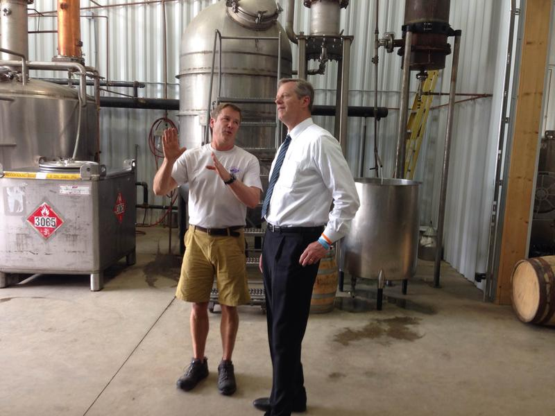 Massachusetts Governor Charlie Baker, right, with Berkshire Mountain Distillers CEO Chris Weld in Sheffield.