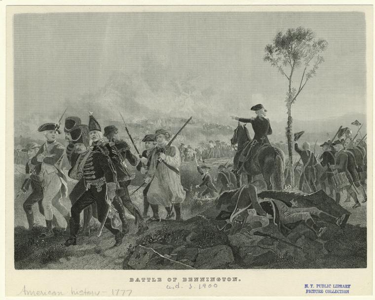Battle of Bennington,  engraving after a painting by Alonzo Chappel