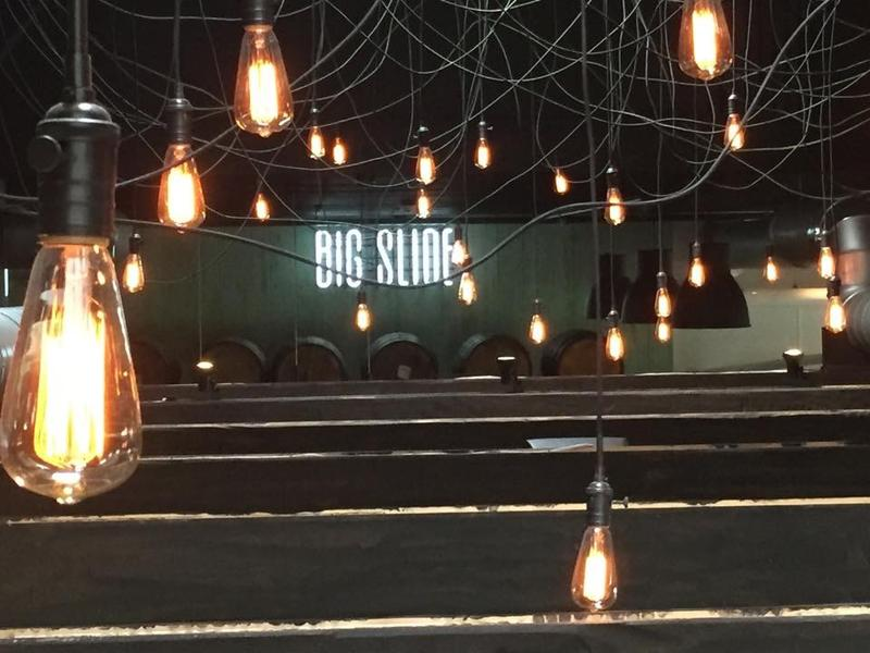 lights and sign at Big Slide Brewery and Public House