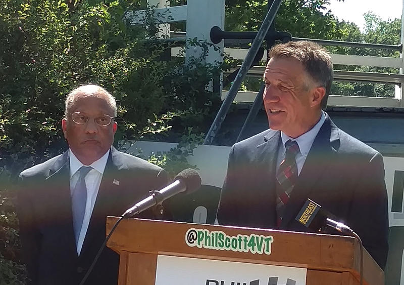 Randy Brock (left) with Phil Scott