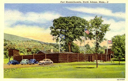 A postcard of the 1930s replica of Fort Massachusetts.