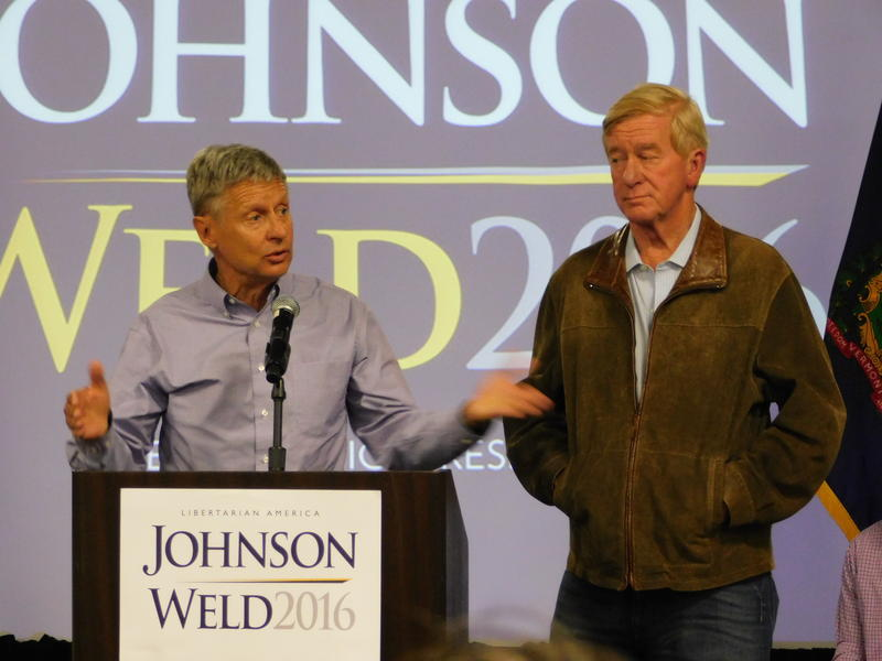 Gary Johnson (left) and Bill Weld at Burlington rally