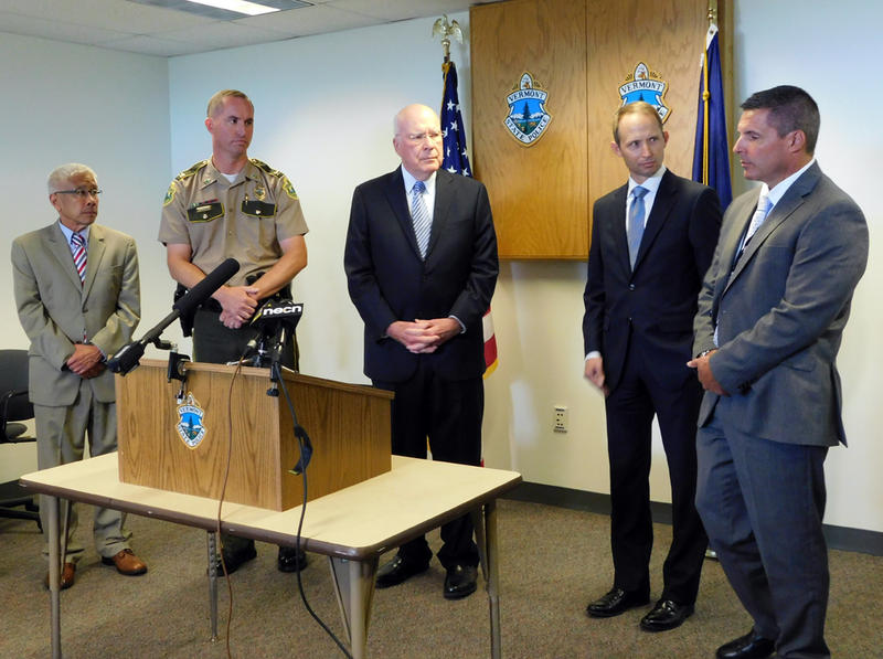 Senator Patrick Leahy with law enforcement officials