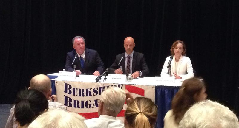 Democratic candidates (from left to right) Rinaldo Del Gallo, Adam Hinds and Andrea Harrington debate at Berkshire Community College.
