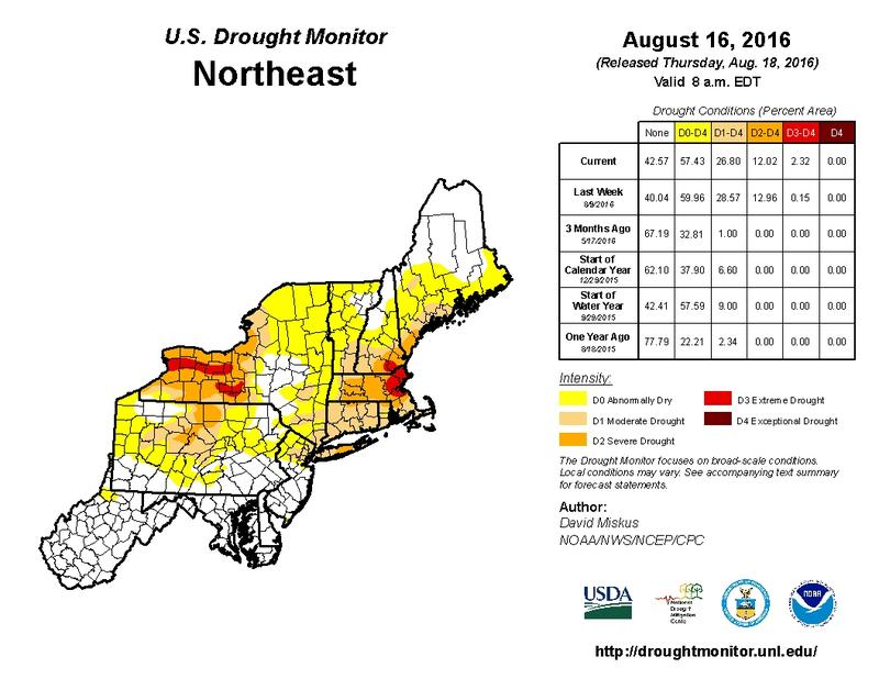 The U.S. Drought Monitor's Northeast map for August 16, 2016
